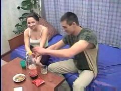 Drunk russian teen sofasex