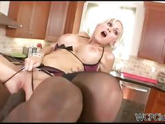 Blonde cougar gets assfucked by a black stud