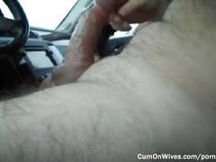 Slutty housewife rubbing her husband's dick