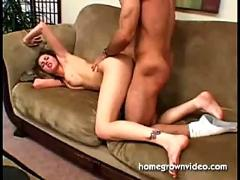 Foreplay on the couch turns to hard fucking