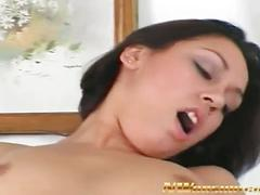 Sweet brunette babe rides a fat black cock