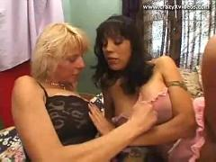 Milf lesbos get it on after work