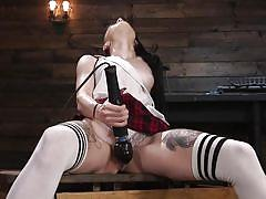 Massive vibrator makes a hot lady have a screaming orgasm