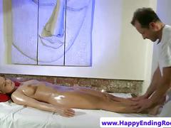 Naked blonde masseuse client finger rubbed
