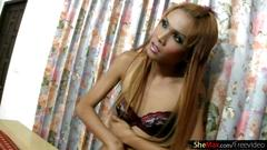 Slim asian t-girl poses in miniskirt and tickles small tits