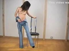 jeans, brunette, solo, teasing