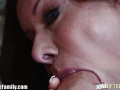 Mother and step-daughter dual bj on huge dick