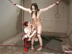 milf, strapon, latex, lesbians, redhead, punishment, lezdom, suspended, ball gag, rope bondage, chantas bitches, kink, alexa von tess, mz berlin
