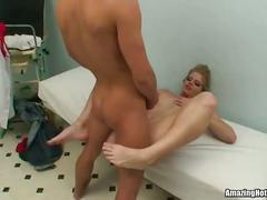 Pretty blonde nurse fucked and jizzloaded