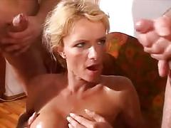 Blonde cutie gets gang banged and fist fucked