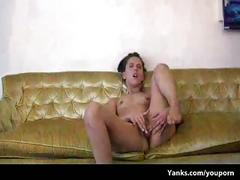 Amber chase rubs her wet fleshy pussy