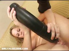 Horny blonde milf brutal dildo masturbation