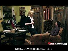 Hot  horny blonde slut judge kayden kross fucks lawyer in office