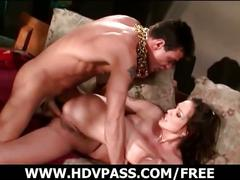 Gorgeous brunette gets her ass banged hard
