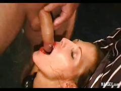 Girl swallowing huge horny cocks