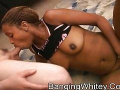 Black slut getting fucked and creamed by whitey boy