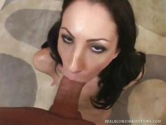 amateur, blowjob, brunette, black hair, casting, deepthroat, gagging, pov blowjob, reality
