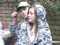 Teen blowjob in backyard