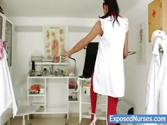 Naughty nurse evelyn opens her pussy wide