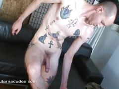 Punk seduces cameraman with striptease and jerks