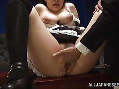babe, asian, maid, office, big boobs, kissing, fingering, on the table, cos play, j cos play, all japanese pass, tsugumi mutou
