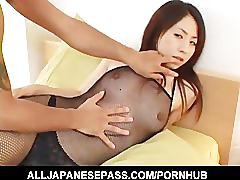 Yuka osawa in fishnet body suit has her tits squeezed