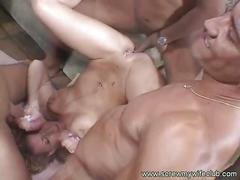 amateur, anal, babe, big dick, brunette, cumshot, gang bang, group sex, milf, 4 on 1, anal sex, assfucking, beauty, big cock, brown hair, facial, group fuck, homemade, messy facial, newbie
