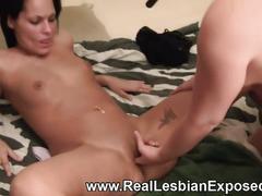 Real brunette amateur lesbians fisting in bed