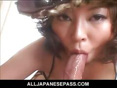 Japanese tramp sucks on his yummy hot pecker