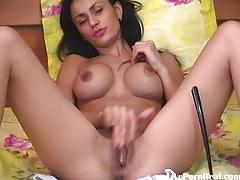 Sexy brunette with hot boobs fingering her pussy4.flv