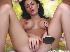 Sexy brunette with hot boobs fingering her pussy5.flv