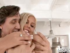 Big tits blonde takes it up the ass with joy