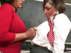 Busty teacher seduces young school girl