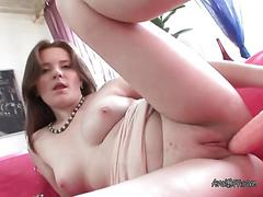 Luscious ginger fingers herself with a big dildo