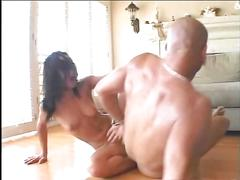 Beautiful anal brunette with perky tits rides a cock in her tight asshole