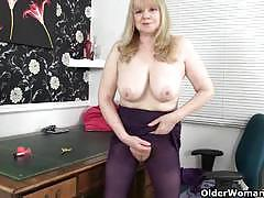 Busty british granny is a compulsive masturbator.