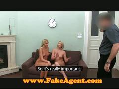Two blondes with fake casting agent