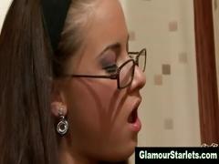 Glamorous stockings brunette in spex