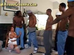 Asian interracial creampie gangbang