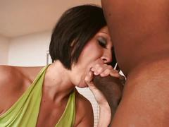 Brunette milf drilled by shorty