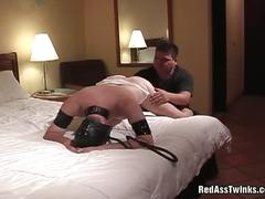 Red ass twink in mask spanked and fucked