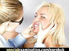 Blonde girl at very special medical examination