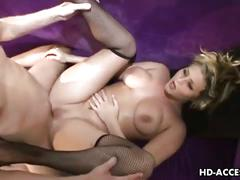 Blonde slut gets assfucked wearing black fishnets