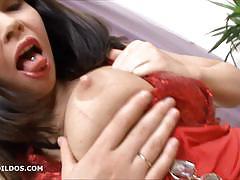 Slutty brunette and her new brutal dildo video