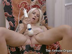 big tits, blonde, babe, masturbation, fingering, toys, vibrator, orgasm, big boobs, masturbating, screaming, striptease, cumming
