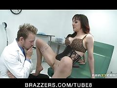 Slutty brunette cytherea squirts while riding doctor's bigcock