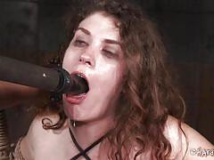 dildo, pierced nipples, tits torture, busty babe, device bondage, rope bondage, hard tied, samsara, jack hammerx
