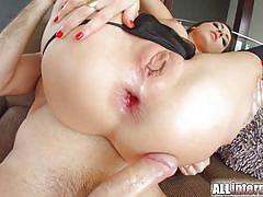 Busty hottie gets her ass filled with cock
