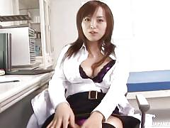 Jerking off in front of the hot japanese nurse