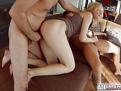 Threesome gives this blonde a big creampie